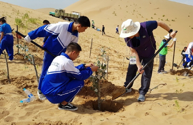 Convenience Store Operators Plant Trees in Kubuqi Desert