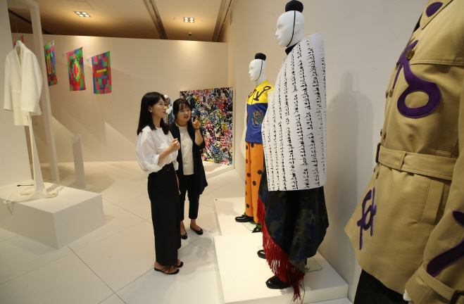 """Design works on display in the National Hangeul Museum's special exhibition """"Transformations: Experiments in Hangeul Design,"""" which kicked off at the museum in Seoul on Sept. 9, 2019. (Yonhap)"""