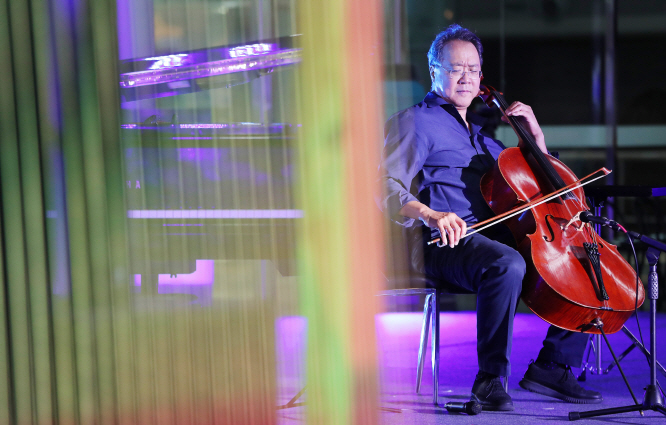 Cellist Yo-Yo Ma performing during the DMZ Peace Concert at Dorasan Station, just south of the DMZ, on Sept. 9, 2019. (Yonhap)