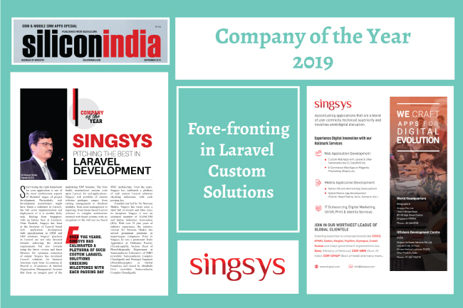 Singsys Acclaimed with the 'Company of the Year, 2019′ Recognition by SiliconIndia