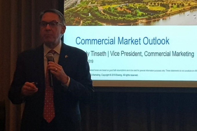 Randy Tinseth, vice president of commercial marketing for Boeing, delivers a briefing on the outlook of the commercial airplane market for the next 20 years at Conrad Hotel in Yeouido, Seoul on Oct. 14, 2019. (Yonhap)