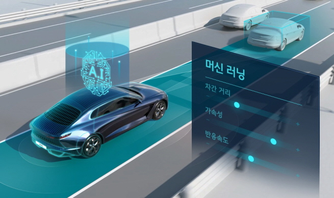 This image provided by Hyundai Motor Group shows how the carmaker's smart cruise control-machine learning (SCC-ML) technology works.