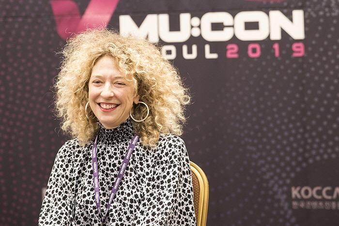 Nicole Frantz, head of Capitol Music Group's Creative Services, during a press conference in Seoul on Oct. 1, 2019. (image: Korea Creative Content Agency)