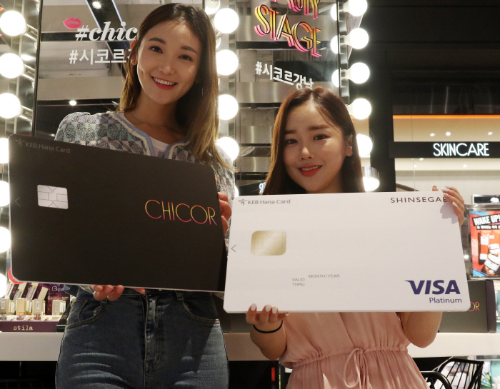 Models posing with a new credit card affiliated with Chicor, a beauty multi-brand shop under  Shinsegae Group's wing. (image: Shinsegae Group)