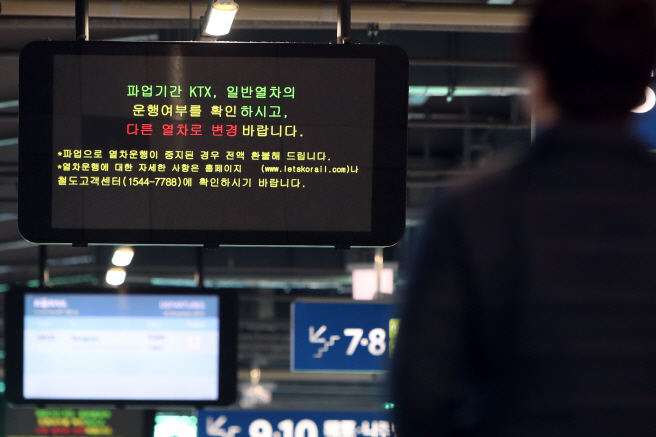 An electronic sign shows a message about the scheduled labor strike at a train station in the southwestern city of Gwangju on Nov. 20, 2019. (Yonhap)