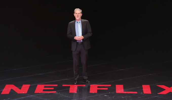 Netflix CEO Reed Hastings speaks during a forum held on the sidelines of a special summit between South Korea and the Association of Southeast Asian Nations (ASEAN) in the port city of Busan, 450 kilometers southeast of Seoul, on Nov. 25, 2019. (Yonhap)