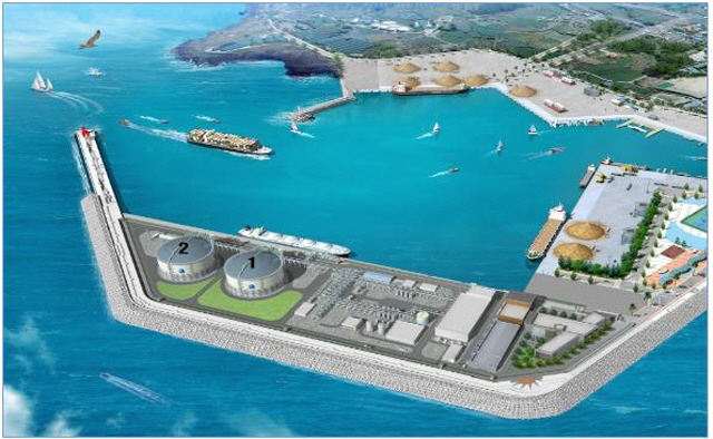 A computer image of a new liquefied natural gas (LNG) storage facility on the southern resort island of Jeju. (image: Ministry of Trade, Industry and Energy)
