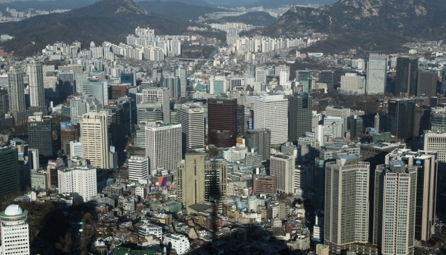 The buildings of South Korea's major firms in Seoul. (Yonhap)