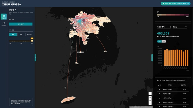 A digital floating population mapping service developed by SK Telecom and Statistics Korea. (image: SK Telecom)