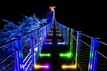 Suspension Bridge Lit Up for Christmas