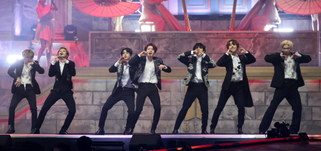 A performance by BTS. (Yonhap)