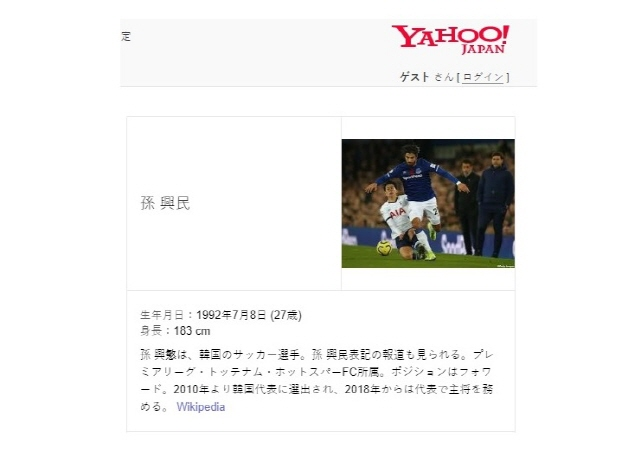 Yahoo Japan Criticized over Profile Picture of Son Heung-Min