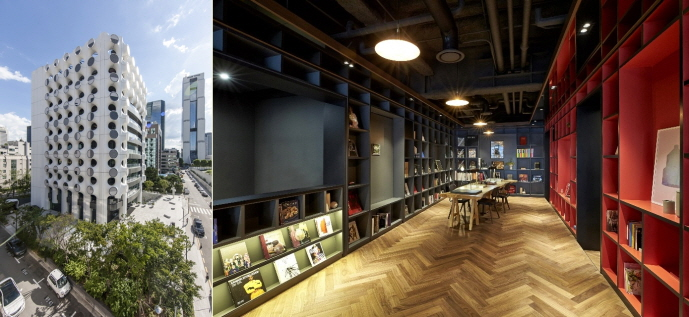 The Club1 PB center (L), which opened on Aug. 21, 2019, in the Samseong neighborhood in southern Seoul, and the center's customer library. (image: KEB Hana Bank)