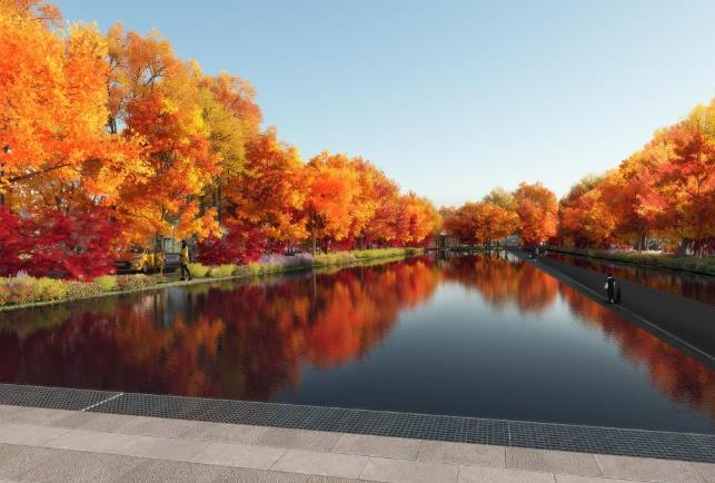A pond in the envisioned highway-turned-park after completion. (image: Seoul Metropolitan Government)