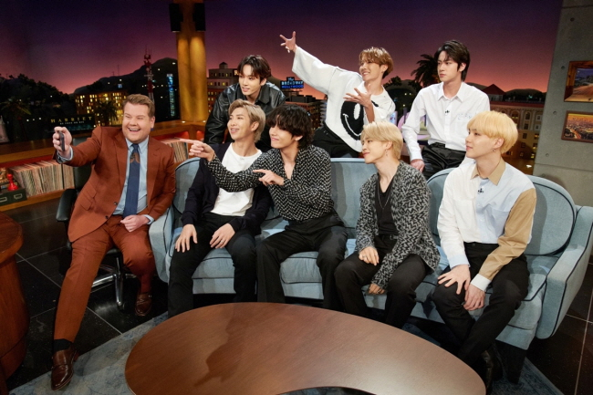 "This photo of BTS' appearance on ""The Late Late Show with James Corden"" on Jan. 29, 2020, was provided by Terence Patrick via Big Hit Entertainment."