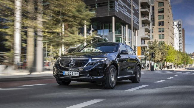 This photo provided by Mercedes-Benz shows the EQC 400 4MATIC SUV, the German carmaker's first all-electric vehicle for the South Korean market, launched on Oct. 22, 2019.