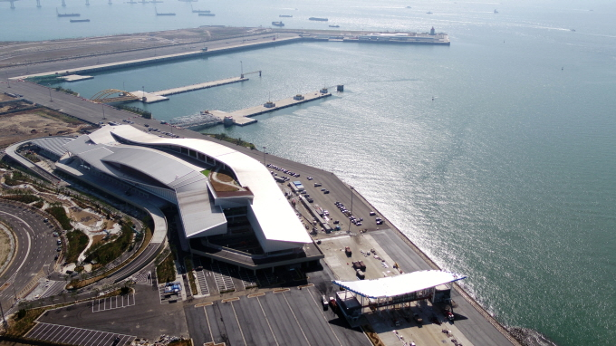 The New Incheon Port International Passenger Terminal under construction in the port city, west of Seoul.