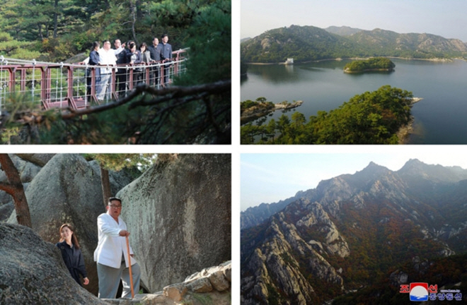 This combined image, released by the Korean Central News Agency (KCNA) on Oct. 23, 2019, shows Mount Kumgang on the east coast and North Korean leader Kim Jong-un climbing the mountain during a field tour.