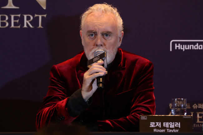 British rock band Queen's drummer Roger Taylor speaks during a press conference on Jan. 16, 2020. (Yonhap)
