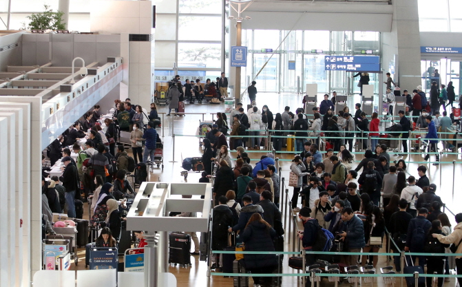 The number of passengers on international routes jumped 5.2 percent on-year last year. (Yonhap)