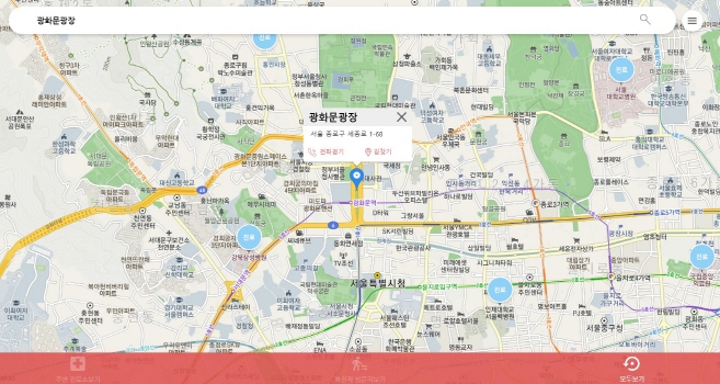 A screenshot of location-based virus-tracking map Corona Nearby on Feb. 4, 2020. (Yonhap)
