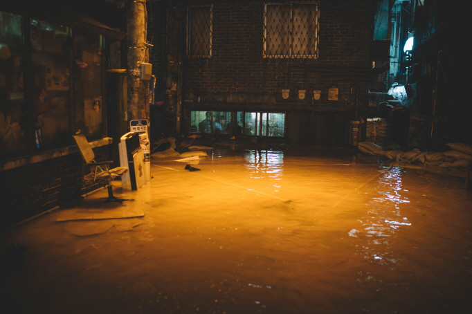 "A flooding scene from ""Parasite."" (image: Goyang City Hall)"