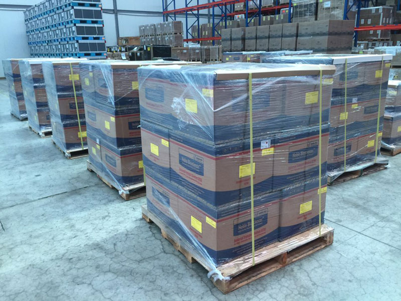 Boxes containing coronavirus specimen collection kits piled at a warehouse near Incheon International Airport, west of Seoul, before being shipped to the United Arab Emirates on March 17, 2020. (image: Ministry Of Foreign Affairs)