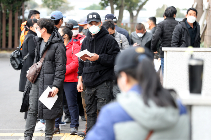 Foreigners who are staying illegally in South Korea, many of them Chinese, wait outside the immigration office on the southern Jeju Island on March 3, 2020, to apply for voluntary departure from the country amid concern about the spread of the new coronavirus. (Yonhap)