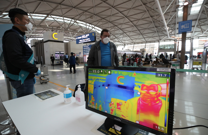 A thermal imaging camera is installed at Incheon International Airport in Incheon on March 6, 2020, as South Korean authorities try to curb the spread of the novel coronavirus. (Yonhap)