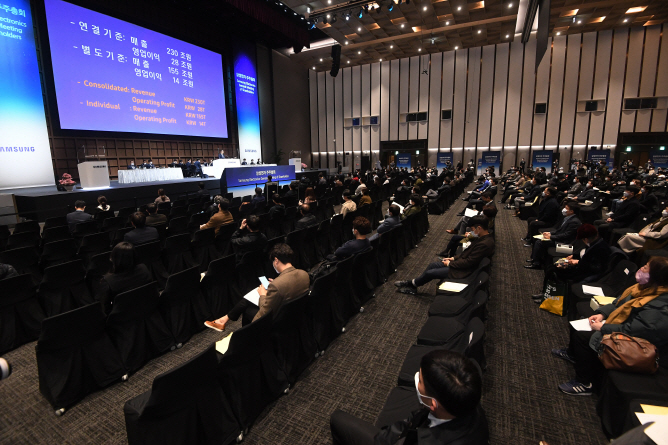 Individual shareholders of Samsung Electronics Co. attend the company's annual shareholders' meeting at a convention center in Suwon, south of Seoul, on March 18, 2020. (Yonhap)