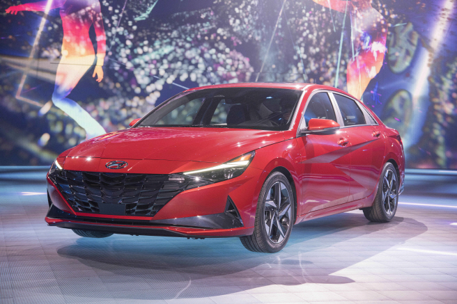 This photo, provided by Hyundai Motor Co., shows the all-new Avante compact car that the South Korean carmaker disclosed at a world premier event in Los Angeles on March 17, 2020.