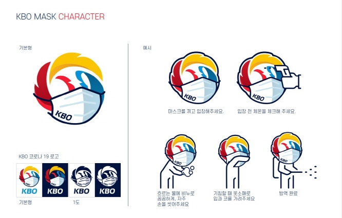 This image provided by the Korea Baseball Organization on April 6, 2020, shows the league's guidelines for preventing the spread of the coronavirus, including wearing masks and frequent hand-washing.