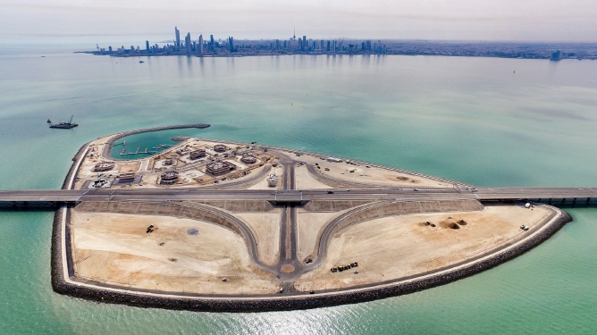 This photo, released by Hyundai Engineering & Construction Co. on May 2, 2019, shows the Sheikh Jaber Al-Ahmad Causeway, a 48.6-kilometer-long bridge across Kuwait Bay that the South Korean builder dedicated the previous day.