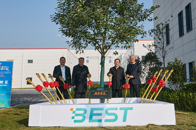 This photo, provided by SK Innovation Co., shows officials from SK Innovation, Beijing Automotive Group and Beijing Electronics at the completion ceremony for their EV battery cell manufacturing joint venture BEST in Changzhou, China, on Dec. 5, 2019.