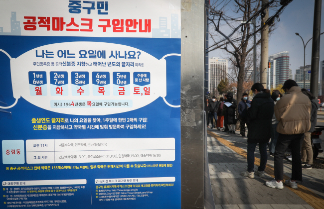 A notice on the government's mask rationing system is on display at a pharmacy in central Seoul in this photo taken on March 19, 2020. (Yonhap)