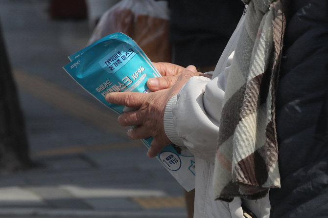 This photo, taken on March 21, 2020, shows a person holding masks purchased at a pharmacy in the Seoul ward of Jongno. (Yonhap)