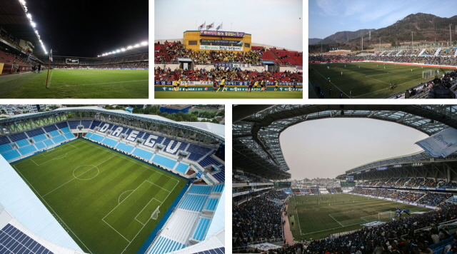 This image, provided by the Korea Professional Football League on March 29, 2020, shows K League stadiums.