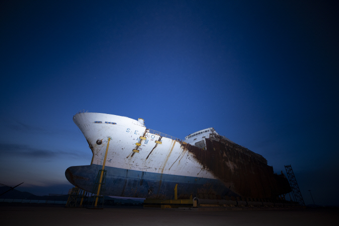 The salvaged Sewol ferry sits at a port in Mokpo, South Jeolla Province, southwestern South Korea, on April 16, 2020, the sixth anniversary of the sinking of the 6,800-ton passenger ferry. (Yonhap)