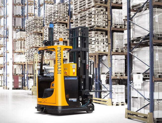 This photo provided by shows Hyundai Construction & Equipment Co. shows the company's autonomous forklift.