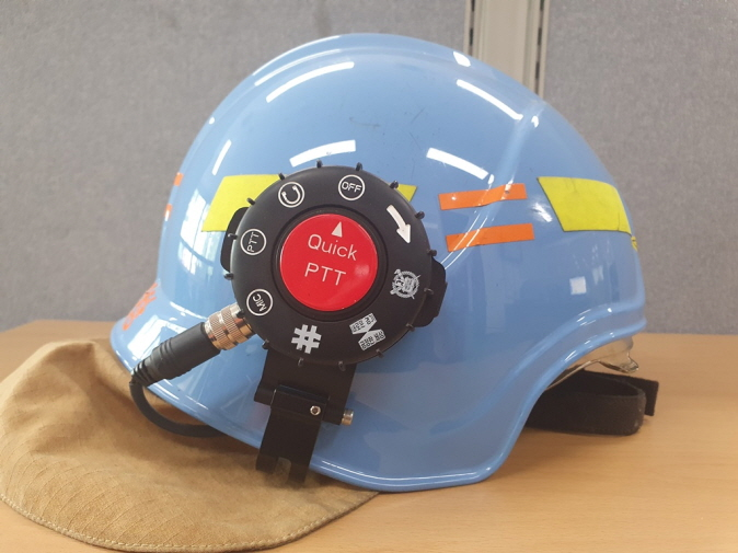 Firefighters can use both hands to work while communicating wirelessly through their helmets in emergencies. (image: Gyeonggi Provincial Government)