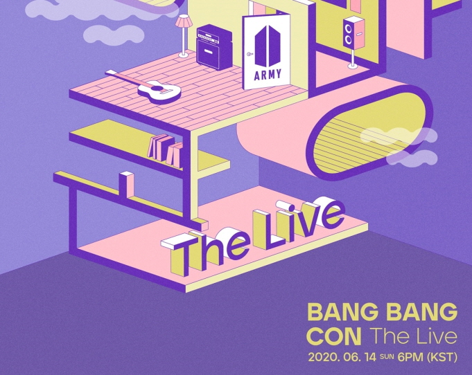 """A promotional image for """"Bang Bang Con the Live,"""" provided by Big Hit Entertainment"""