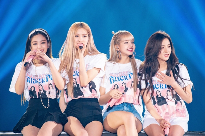 This file photo provided by YG Entertainment shows K-pop act BLACKPINK performing in Jakarta on Jan. 21, 2019.