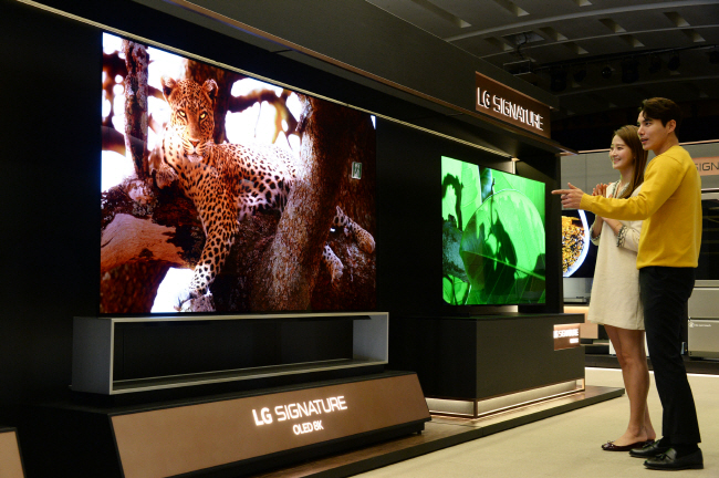 This photo, provided by LG Electronics Inc. on Jan. 3, 2020, shows the company's OLED 8K TV.