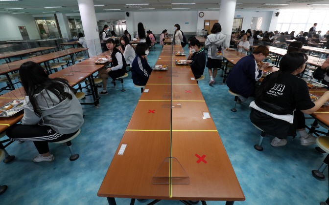 Students eat lunch at tables equipped with plastic barriers to prevent any possible spread of the new coronavirus at the cafeteria in Jungang Girls' High School in the southeastern port city of Busan on May 20, 2020. (Yonhap)