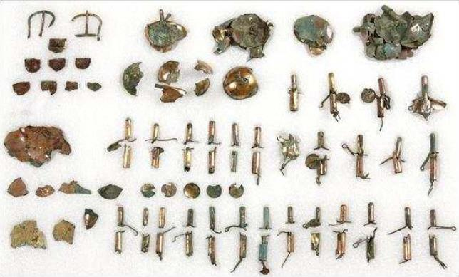 This photo, released by the Cultural Heritage Administration on May 27, 2020, shows a variety of horse ornaments that South Korean archaeologists unearthed from the Hwangnamdong Tumulus No. 120-2 from the Silla Kingdom (57 B.C.-A.D. 935) in the ancient city of Gyeongju, southeastern South Korea.