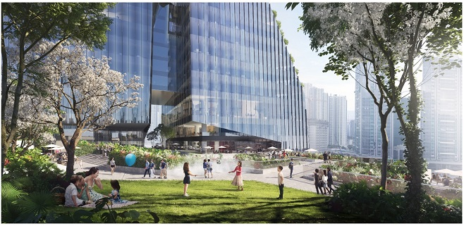 AIRSIDE offers cascading greenery, open-air rooftop that will constitute 33% of the site area (image: Nan Fung Group)