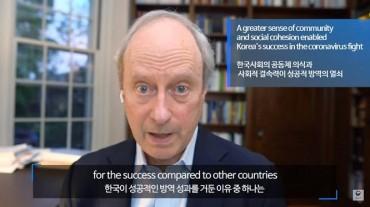 U.S. Scholar Cites S. Korea's 'Sense of Community, Social Cohesion' as Reason for Successful Virus Response
