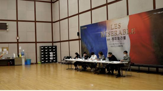 """This photo provided by Les Miserables Korea on June 11, 2020, shows the casting panel at an audition for the upcoming Korean-language theater production of """"Les Miserables"""" slated for Aug. 7-16 in Seoul."""