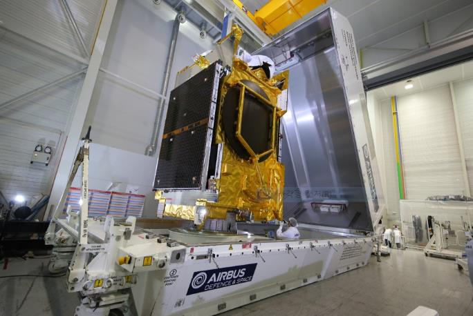 This undated photo uploaded on the website of Airbus Defense and Space on June 11, 2020, shows the Anasis-II satellite.