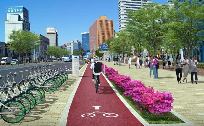 An artist's impression of a bicycle lane near the Hangang Bridge provided by the Seoul city government.